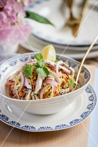 Chicken salad with cabbage, carrots, onions, coconut milk and sesame seeds