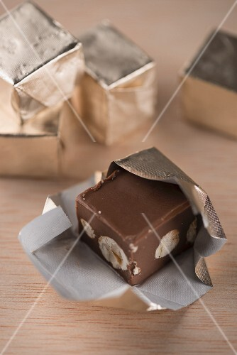 Individually wrapped Gianduja chocolates from Turin (Italy)