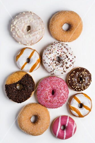 A selection of doughnuts (seen from above)