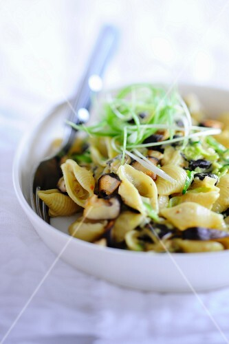 Pasta with shiitake mushrooms and spring onions