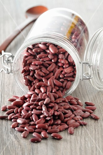 Kidney beans in an overturned jar