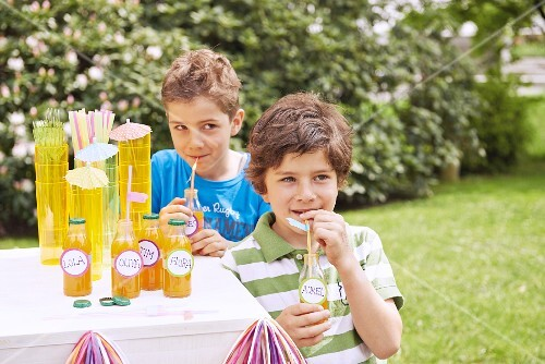 Two boys with bottles of drink at a birthday party