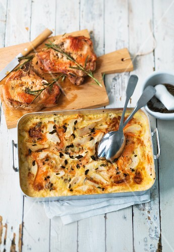 Turnip, pear and sweet potato bake served with pork chops
