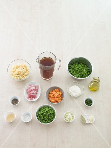 Ingredients for pea stew