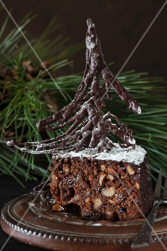 Luxury chocolate fruitcake with rum for Christmas