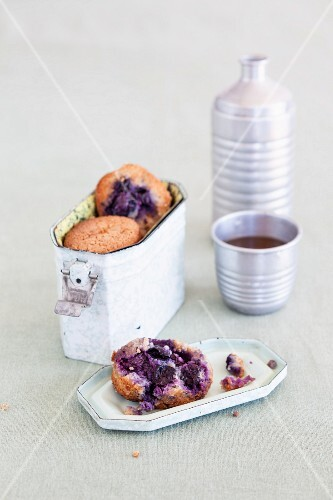 Blueberry muffins in a lunchbox for school