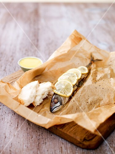 Mackerel in parchment paper