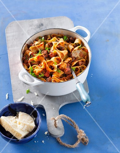 Pappardelle with beef, capers and parsley
