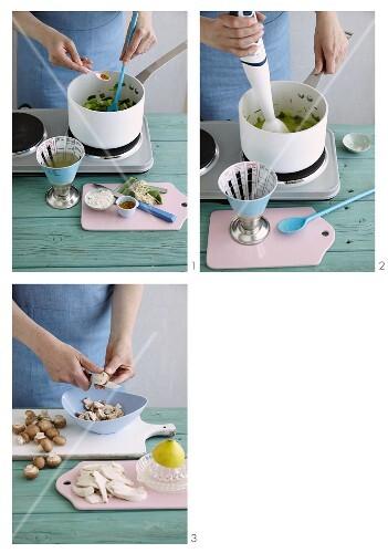 Chicken fricassee in creamy leek being made