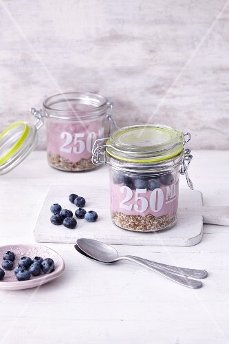 Berry coconut cheesecake in jars