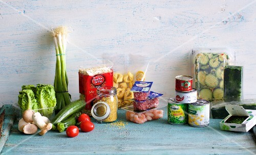 Various foodstuffs and vegetables, fresh, frozen and tins