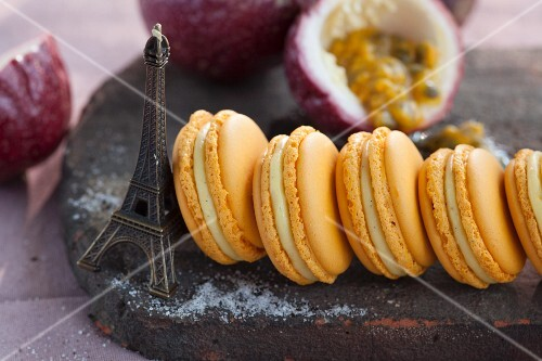 Passion fruit and vanilla macaroons