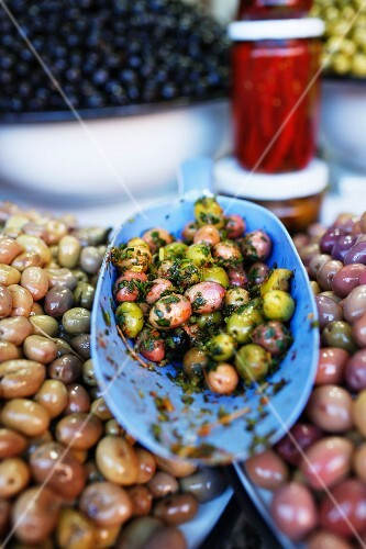 Preserved olives at a market in Marrakesh, Morocco