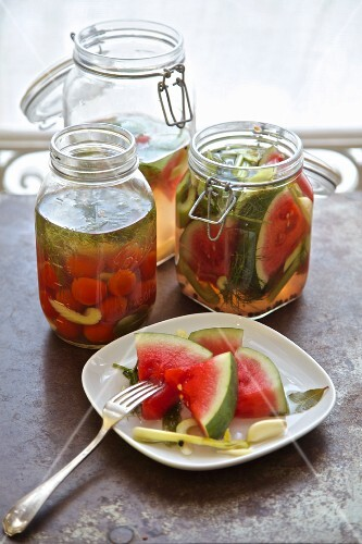 Pickled vegetables from Russia (watermelon, cucumber, celery, tomatoes, garlic, dill)