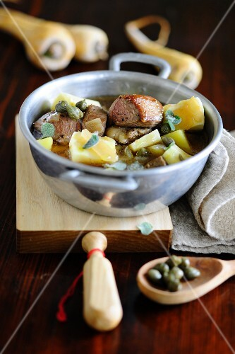 Lamb stew with parsnips and capers