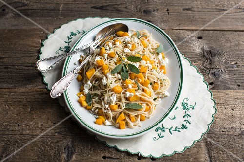 Pasta with butternut squash, feta cheese and sage