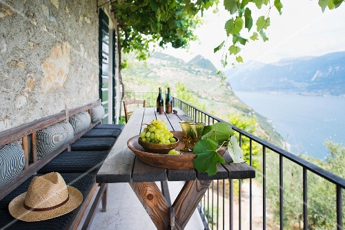 Grapes and red wine on a balcony with a view of a lake (Italy)
