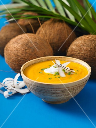 Carrot and ginger soup with coconut
