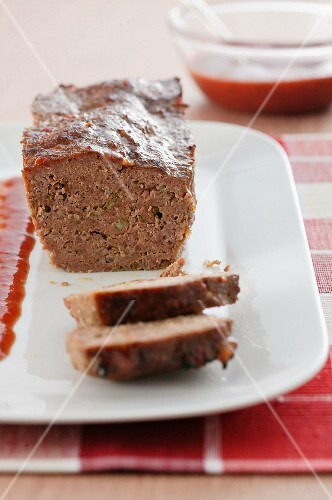 Meatloaf with a red gravy