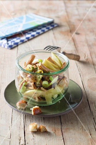 Vegan sausage salad with pretzel croutons
