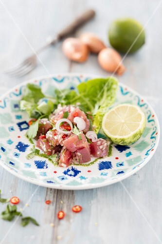 Tuna fish ceviche with chilli peppers