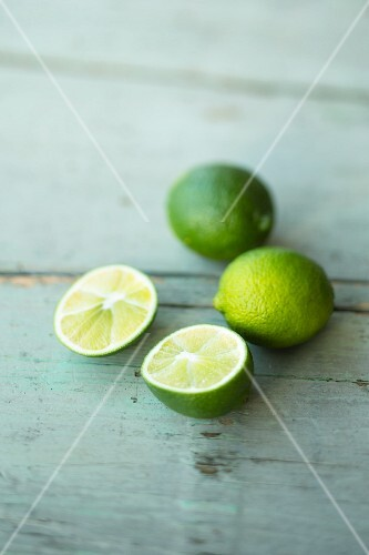 Limes, whole and halved