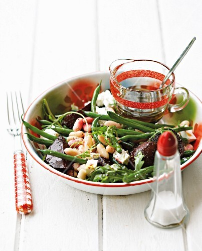 Warm bean salad with beetroot and sheep's cheese