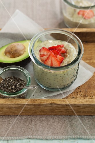 Avocado and strawberry dessert with chia seeds