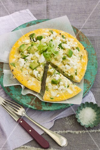 Avocado frittata with feta cheese