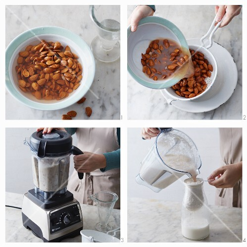 Vegan almond milk with dates being made