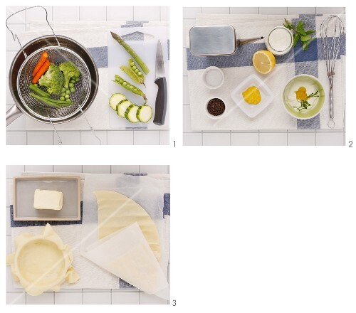 Steamed vegetables with yoghurt and mint sauce in a pastry bowl being made