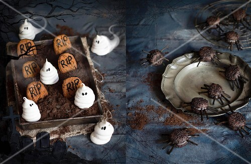 Halloween snacks: meringue ghosts and peanut butter gravestones in a chocolate mousse graveyard next to black sesame seed spiders