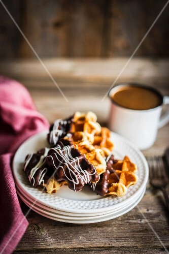 Belgian waffles with chocolate