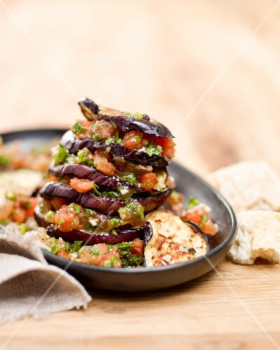 Aubergine tower with tomato pesto