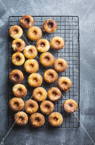 Unglazed doughnuts on a wire rack