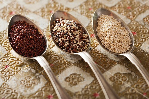 Various types of quinoa on three spoons