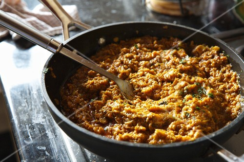 Spicy mince meat sauce in a pan