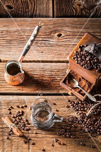Aromatic coffee and an old coffee grinder