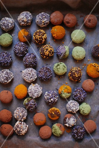 Various vegan chocolate truffles (seen from above)