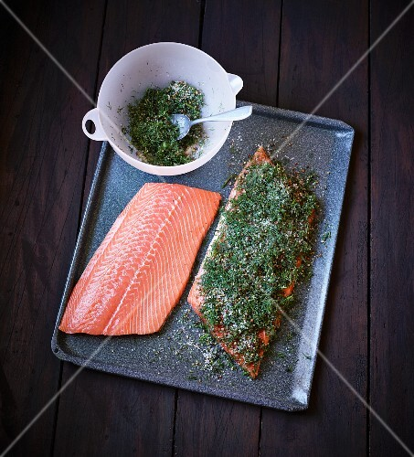 Gravad lax being prepared