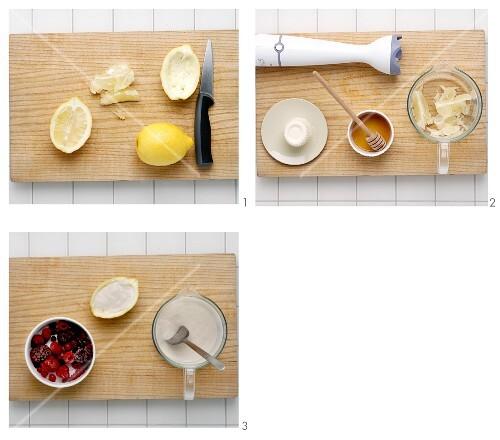 Lemon with ricotta cream being made