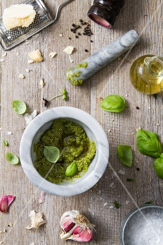 Pesto in a mortar (seen from above)