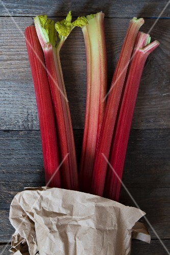 Rhubarb on a wooden surface
