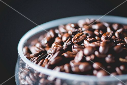 Coffee beans in a glass bowl