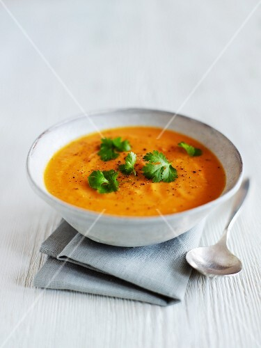 Sweet potato soup with ginger and coriander