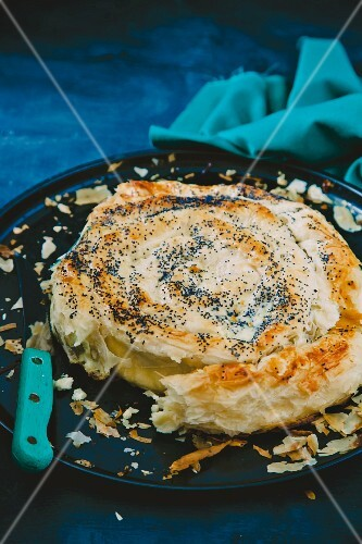 Spicy filo pastry cake filled with feta cheese