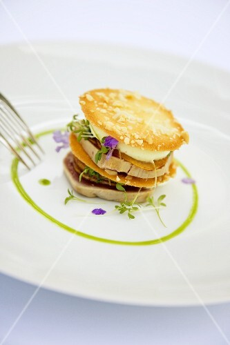 Tuna fish and peanut lasagne with wasabi mousse and candied radish