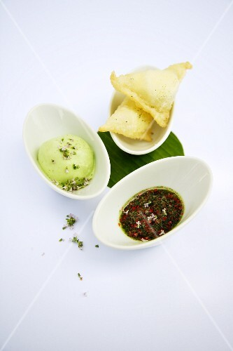 Apricot and cream cheese samosas with a herb honey and lime sorbet