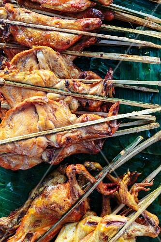 Grilled chicken on bamboo skewers, Vientiane, Laos