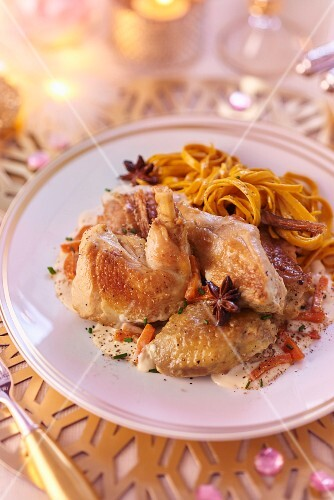 Spring chicken with star anise and tagliatelle (Christmas)